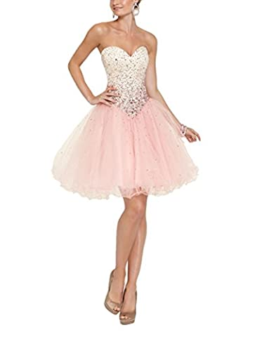 A-line Tulle Sweetheart Beaded Crystal Backless Lace-up Short Homecoming Dress Pink US6