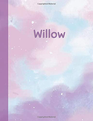 Willow: Personalized Composition Notebook - College Ruled (Lined) Exercise Book for School Notes, Assignments, Homework, Essay Writing. Purple Pink Blue Cover Art - Cloud Marble with Name Cover Willow