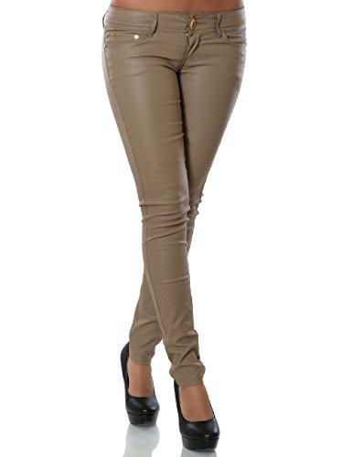 Damen Kunstlederhose Skinny (Röhre) No 12927, Größe:34;Farbe:Khaki