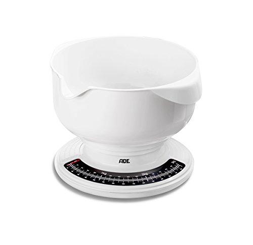ADE Mechanische Küchenwaage KM 704 Paula. Analoge Waage mit Schüssel aus ABS-Kunststoff - spülmaschinengeeignet, 2,5 l Fassungsvermögen. Präzise wiegen bis 3 kg. Schüsselwaage, weiß