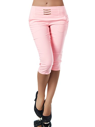 Diva-Jeans N828 Damen Caprihose Treggings Leggings Stoffhose Sommerhose Knielang 3/4 Capri, Größen:XXL, Farben:Lachs (5-pocket-stretch-capri)