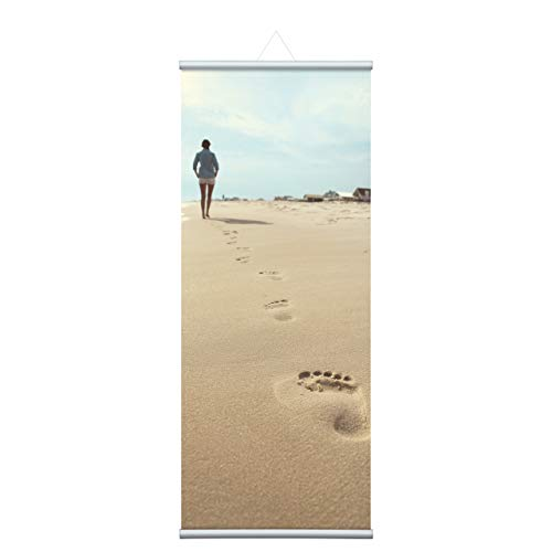 80x200 cm Füße im Sand, Natur Stoffbanner Komplettset - Wandbild, Schaufensterdeko, Praxisdeko, Wanddeko, Werbebanner