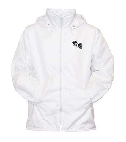 Mens Bowling Jacket Fully Fleece Lined Waterproof Hoodded Jackets Detachable Hood White With Embroidered Logo (Medium,