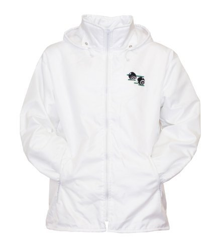 Mens Bowling Jacket Fully Fleece Lined Waterproof Hoodded Jackets Detachable Hood White With Embroidered Logo (Medium, White)