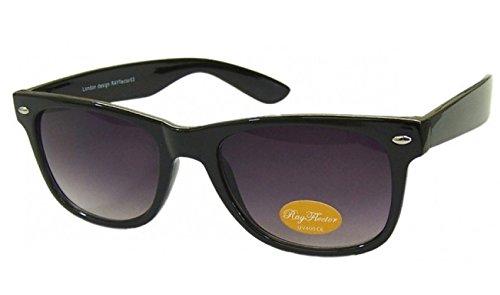 Schwarz-Lila Objektiv Retro Fashion Designer Geek Nerd NHS Big Rave Party Brille groß Wayfarer Hot (Medium Größe)