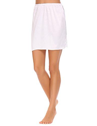 ADOME Damen Satin Unterrock Kurz Miederrock Basic nachtwäsche Weiß145 EU 36(Herstellergröße: S)