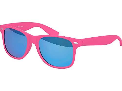 Balinco Hochwertige Nerd Sonnenbrille Rubber im Wayfarer Stil Retro Vintage Unisex Brille mit Federscharnier - 96 verschiedene Farben/Modelle wählbar (Pink - Blau verspiegelt)
