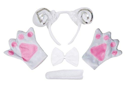 Geburt Schafe Kostüm - Petitebelle Schaf-Stirnband Bowtie Schwanz Handschuhe 4pc Kostüm für Erwachsene Einheitsgröße Weiß