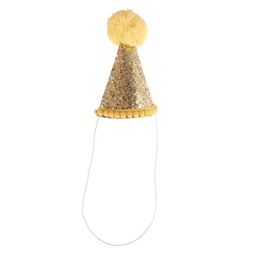 Geburtstag Hüte Happy Birthday Hut Kopfschmuck mit Band - Gold, 13.5cm (Gold Happy Birthday Tiara)