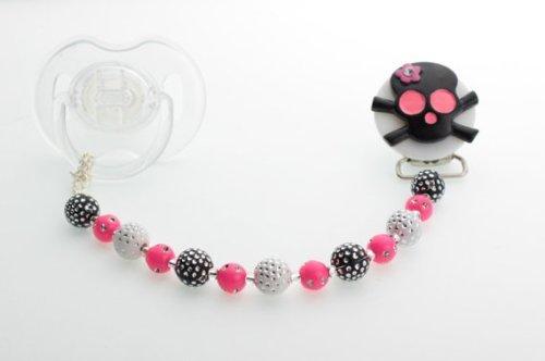 Cristal sueño negro y rosa lazo cuentas de cristal de calavera chupete clip