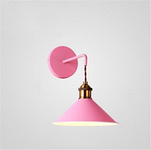 Lampada da parete lampada da parete in ferro vernice spray scrubbing nordic macaron stile moderno lampada da parete minimalista calda night board hall ingresso portico scala lampada da parete ( color : rosa )
