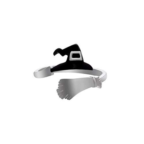 WEILYDF Halloween Ring Kreative Minimalistisches Design Einstellbare Fingerringe Lustige Niedliche Kürbis Geist Hexe Hut Form Ring Geschenk