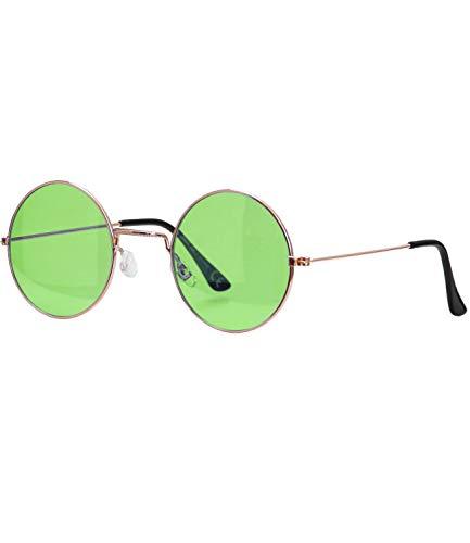 Caripe Lennon Retro Vintage Sonnenbrille Metall Damen Herren rund Nickelbrille (6826 - Gold - grün getönt)