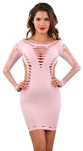 Miss Noir Damen Kleid elastisch und flexibel tragbar Einheitsgröße mit Langärmliges Clubwear Partykleid (Rosa) - Fetisch Fishnet