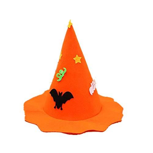 Ototon Halloween Hut aus Vliesstoff, magische Spitze, Motiv Kürbis Fledermaus, Fantasie Kostüm für Erwachsene Kinder Halloween Karneval