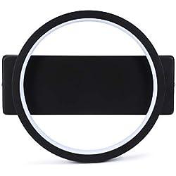 Asvert Lámpara de Pared Interior Aplique de pared Led negro 12W diámetro 30cm aluminio lámpara de pared para Dormitorio, Studio,etc(Blanco frío, Negro 30cm)