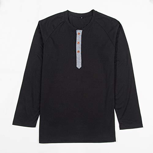 NGOZI M?nner Henley Paw Front Langarm 3 Tasten Mode l?ssig T-Shirts. -