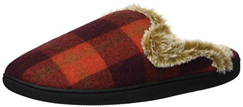Dearfoams Damen Closed Toe Scuff Slipper, rotem Karo, Medium -