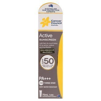 Cancer Council Australia Spf50 Pa+++ Active Sunscreen Lotion 75ml by