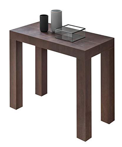 Icreo tavolo consolle allungabile modello atena colore acciaio corten cm 46/306 x 90 h 75 in nobilitato melaminico di alta qualita' con 5 allunghe da cm 52. prodotto interamente italiano di design.
