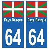 Autocollant plaque immatriculation 64 Pays Basque