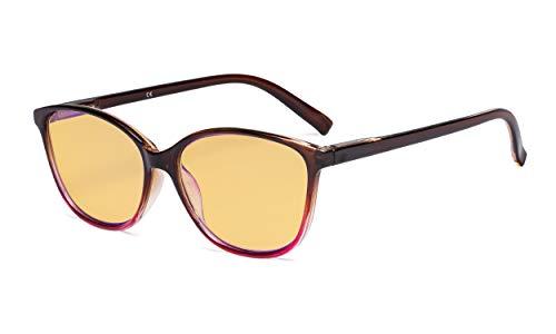 Eyekepper Blau Licht Blockierung Computer Brille mit Bernstein Getönter Filter Linse-groß Katzenauge Stilvoll Brille Frauen-Braun Arm