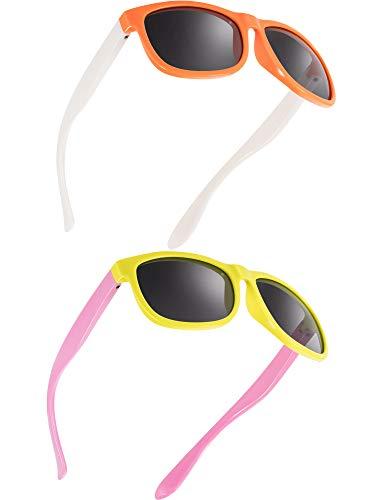 Blulu 2 Stücke Kleinkind Sonnenbrille Gummi Flexibel Kinder Polarisiert Sonnenbrillen, Alter 2-10 (Farbe C)