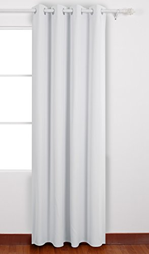 Deconovo Rideau Occultant de Haute Précision Blackout Curtain à Oeillets 135x240cm Isolant Thermique Blanc Pâle Gris