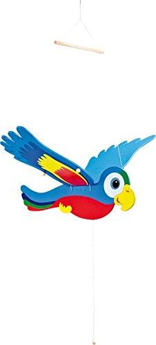 Schwingender Papagei - Holz bunt bemalt 64 cm
