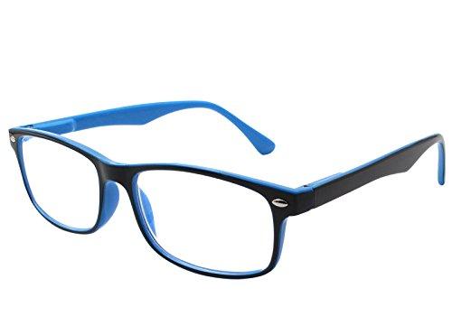 TBOC Lesebrille Lesehilfe für Herren und Damen - Dioptrien +1.50 Zweifarbige Blau und Schwarz Fassung mit Stärke für PC Handy Trend für Frauen Männer Senioren für Alterssichtigkeit Presbyopie