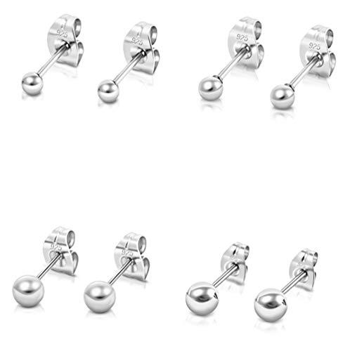 DTPsilver -Damen - Ohrringe 925 Sterling Silber Kugel Set Paare 4 Ohrstecker 2 mm, 3 mm, 4 mm, 5 mm