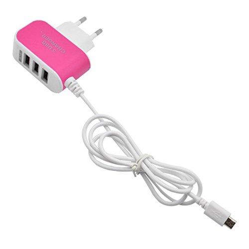 HARRYSTORE 3.1A 3 in 1 Port USB-Stecker Home Travel Wand-Ladegerät Netzteil mit Kabel für Smartphone (Hot Pink) (Fragen Usb-wand-ladegerät-kabel)