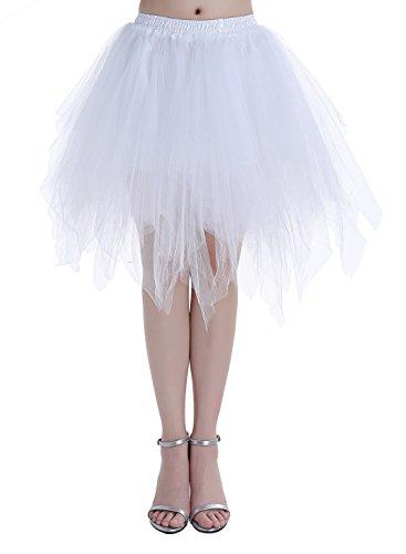 Dressystar DSP0005 Minirock Kurz Unterrock Tutu Unregelmäßig Tüll Damen Mädchen Ballettrock Multi-Schichten Weiß M