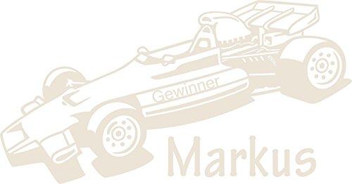 _816 Wandtattoo Rennwagen Gewinner Formel 1 Wunschname Jungenzimmer Jungs (109x57cm//816 Antique White) ()