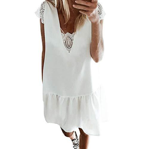 TUDUZ Mujer Vestidos Manga Corta Playa Sólido Mini Vintage Encaje Vestido (Blanco, XL)