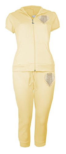 Oops Outlet Damen Bauchfreies Damen Capri Trainingsanzüge von Brody & Co ® Baumwolle Jogger Short Sleeve Hoodys Herz Suit Gelb