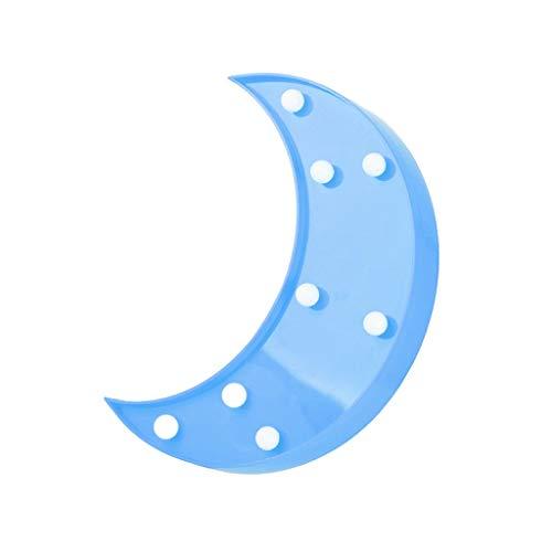 Dciomi LED Leuchte Glücklicher Indoor Dekorativer Mond Nachtlicht Geburtstagsfeier Feiertags Dekoration Blau -