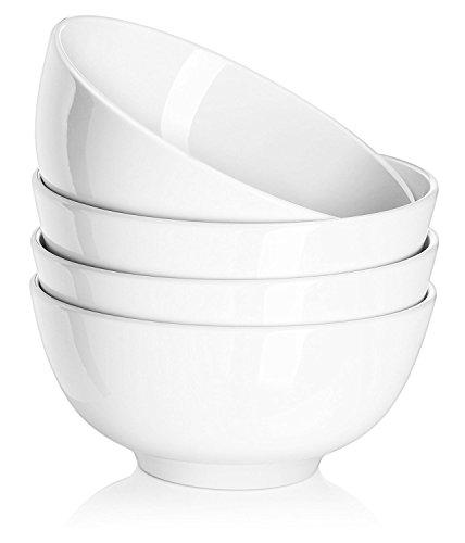 Dowan ciotole di porcellana, ciotole di cereali/zuppa, servire per insalata/ramen / frutta, bianco (600ml,set di 4, bianco)