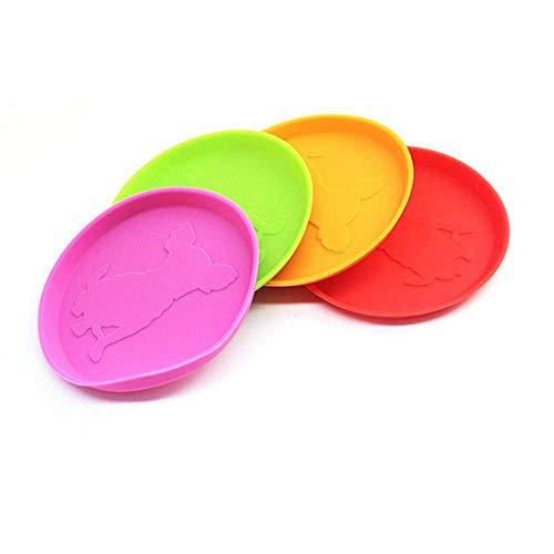 Kawei Hunde Spielzeug Hund Frisbee Flying Disc Spielzeug Flyer Hundespielzeug Weiche Naturkautschuk Interaktive Fetch Spielzeug Outdoor Kausicherheit 10 cm Zufällige Farbe -