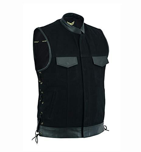 Leatherick Gilet da motociclista in denim con lacci laterali, in pelle, con tasche per pistola