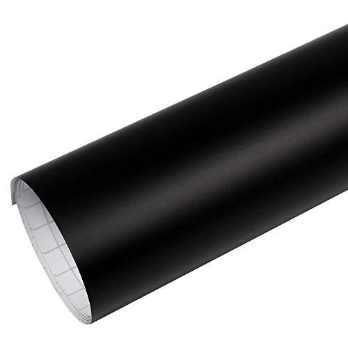Rapid Teck® PREMIUM - Matt Schwarz 3m x 1,52m Auto Folie Blasenfrei mit Luftkanälen für Auto Folierung und 3D bekleben in Matt Glanz und Carbon (Home-scheibentönung)