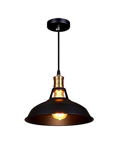 Splink Pendelleuchte Hängelampe Industrie Deckenlampe /Deckenleuchte, E 27 Fassung Fabrik-Lampe Messing- schwarz Lampenschirm -