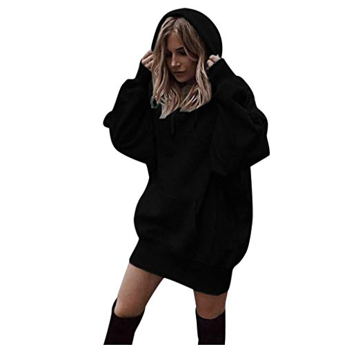 OYSOHE Damen Pullover Normallack Hoodies Tasche Baumwolle Lang Sweatshirt Pullover(Schwarz,XL)