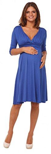 Happy Mama Femme. Robe patineuse maternité grossesse. Manches 3/4. 401p Bleu Royal