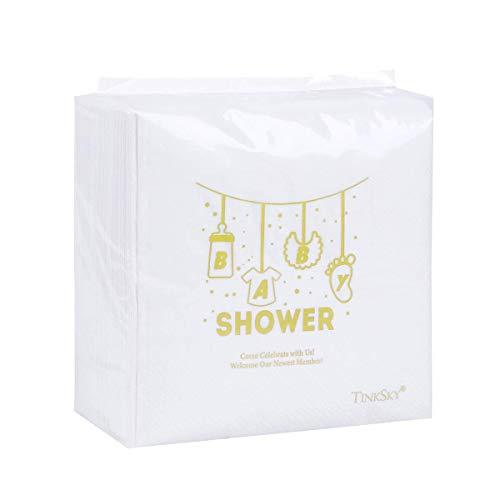 Tinksky Baby Shower Cocktail Servietten Einweg Papier Party Servietten Geschirr Zubehör für Baby-Dusche (100 Blatt) (Baby-dusche-party-servietten)