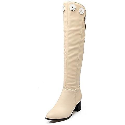 Zapatos de mujer Chunky talón señaló Toe Applique Zip sobre la rodilla Más de arranque disponible en color beige,,US6 / UE36 / UK4 / CN36