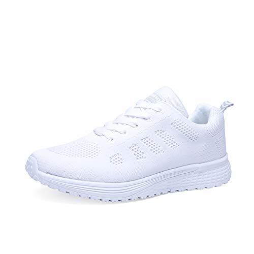 Orktree Damen Sneaker Fitness Laufschuhe Sportschuhe Schnüren Running Schuhe Herren Ultra-Light Turnschuhe, Weiß, 35 EU -