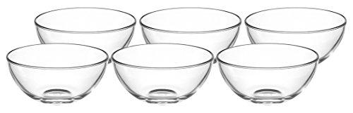 Glas Set Schüssel (Leonardo 066326 Cucina Set 6 Schale 14 cm, Glas, klar, 14 x 14 x 6.5 cm, 6 Einheiten)