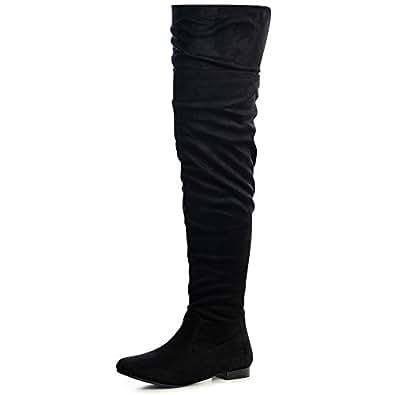 topschuhe24 1251 Damen Overknees Langschaft Stiefel, Farbe:Schwarz;Größe:36