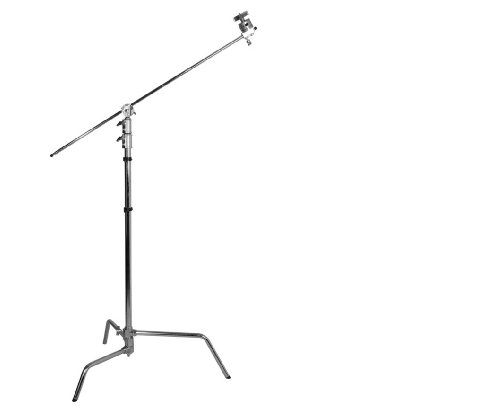 Jinbei C-Stand Lampenstativ mit Auslegearm und verstellbarem Bein - CK-3 - Lampen- und Galgenstativ in einem, aus rostfreiem Stahl